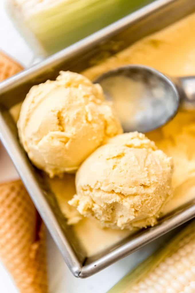 two scoops of homemade corn ice cream