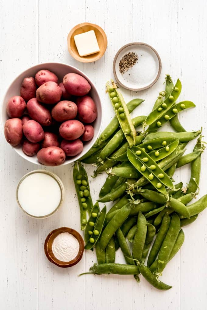 ingredients for creamed peas and potatoes