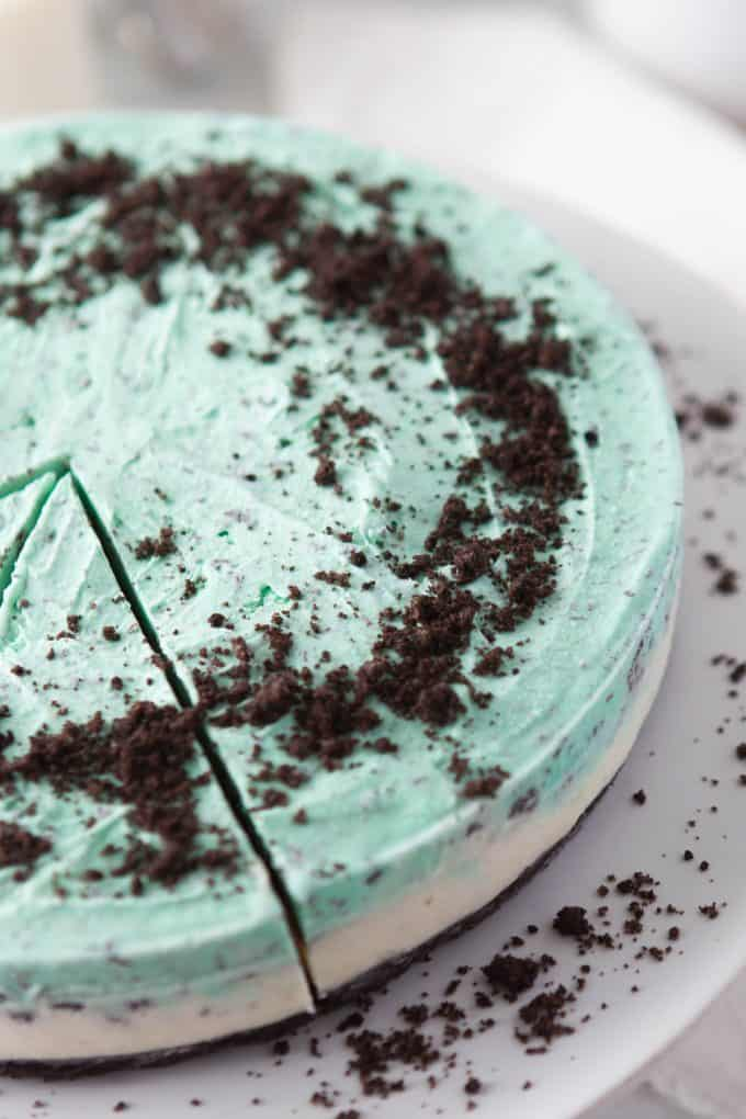 crumbled Oreos on top of a mint grasshopper ice cream pie