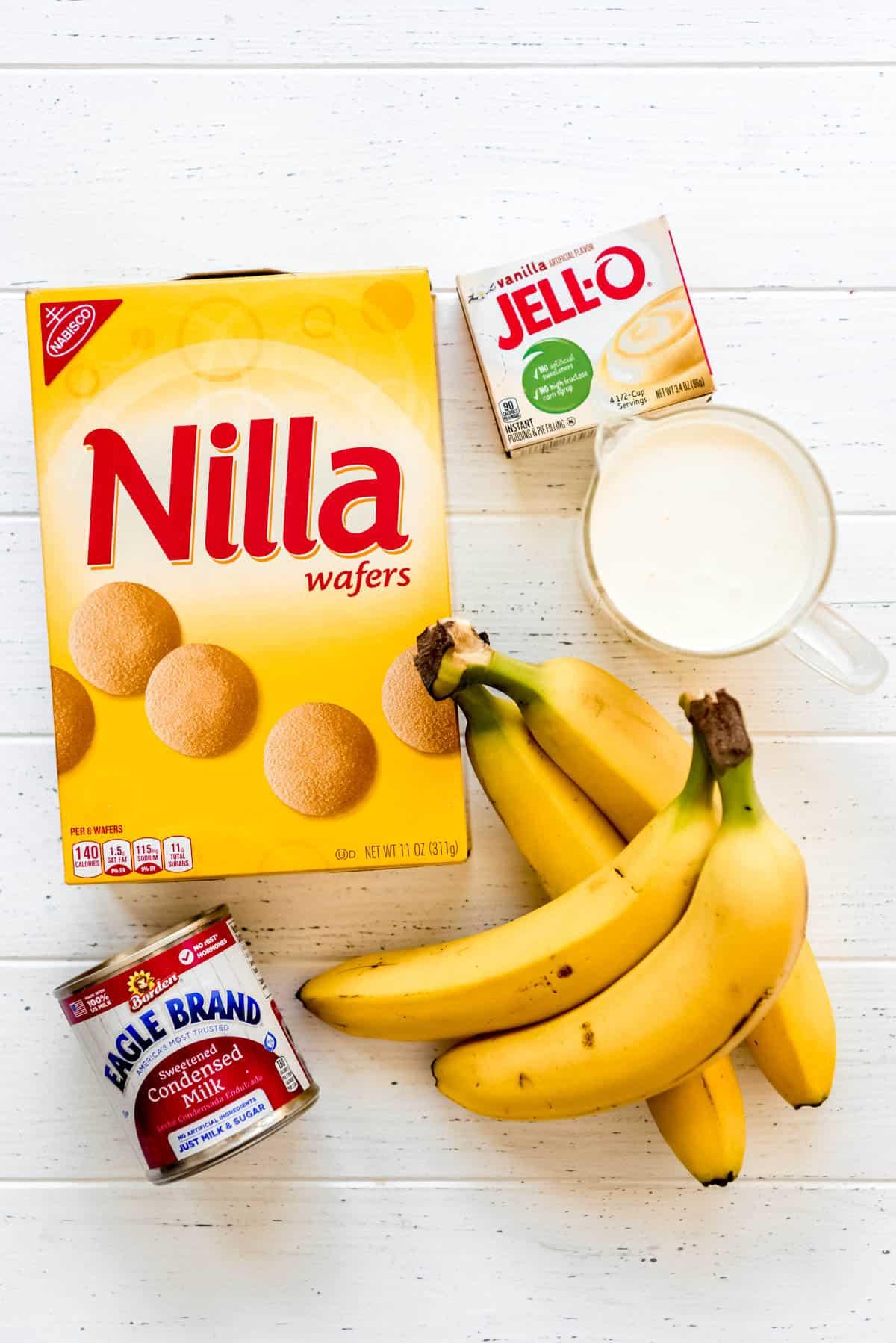 Nilla wafers, Jell-o Instant Pudding, heavy cream, bananas, condensed milk