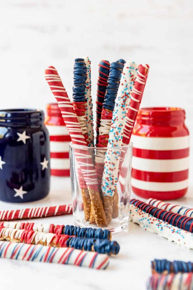 4th of July pretzel rods in a glass cup