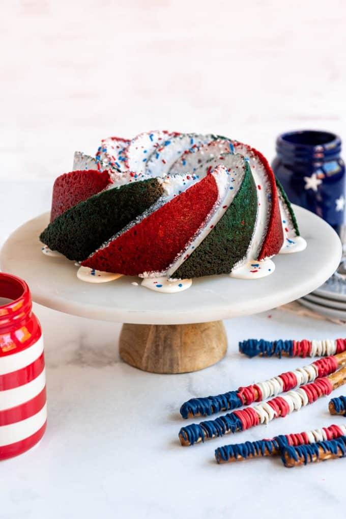 a bundt cake with red and blue swirls on the outside