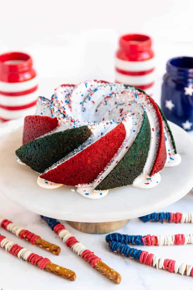 Red, White, and Blue Bundt Cake