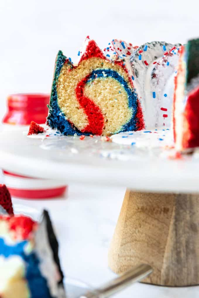 a bundt cake with a red, white, and blue swirl