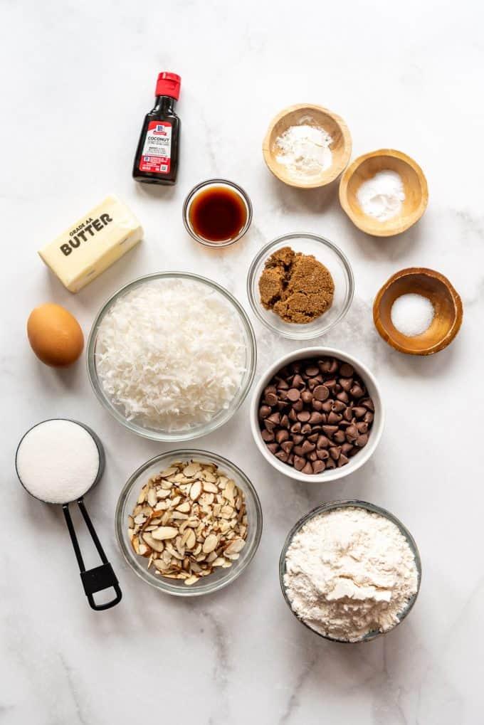 ingredients in bowls for making almond joy cookies