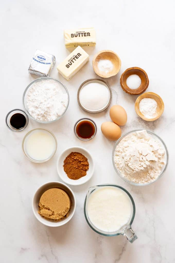 ingredients in separate bowls for making homemade cinnamon roll waffles