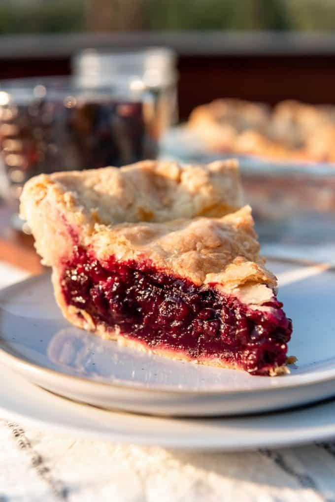 a slice of homemade huckleberry pie on a plate