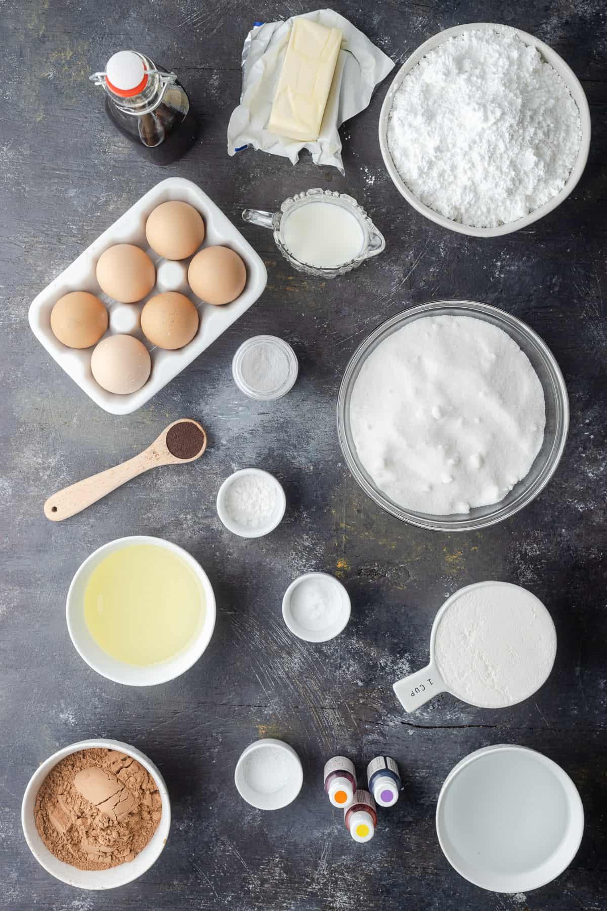 Cupcake ingredients in separate bowls.