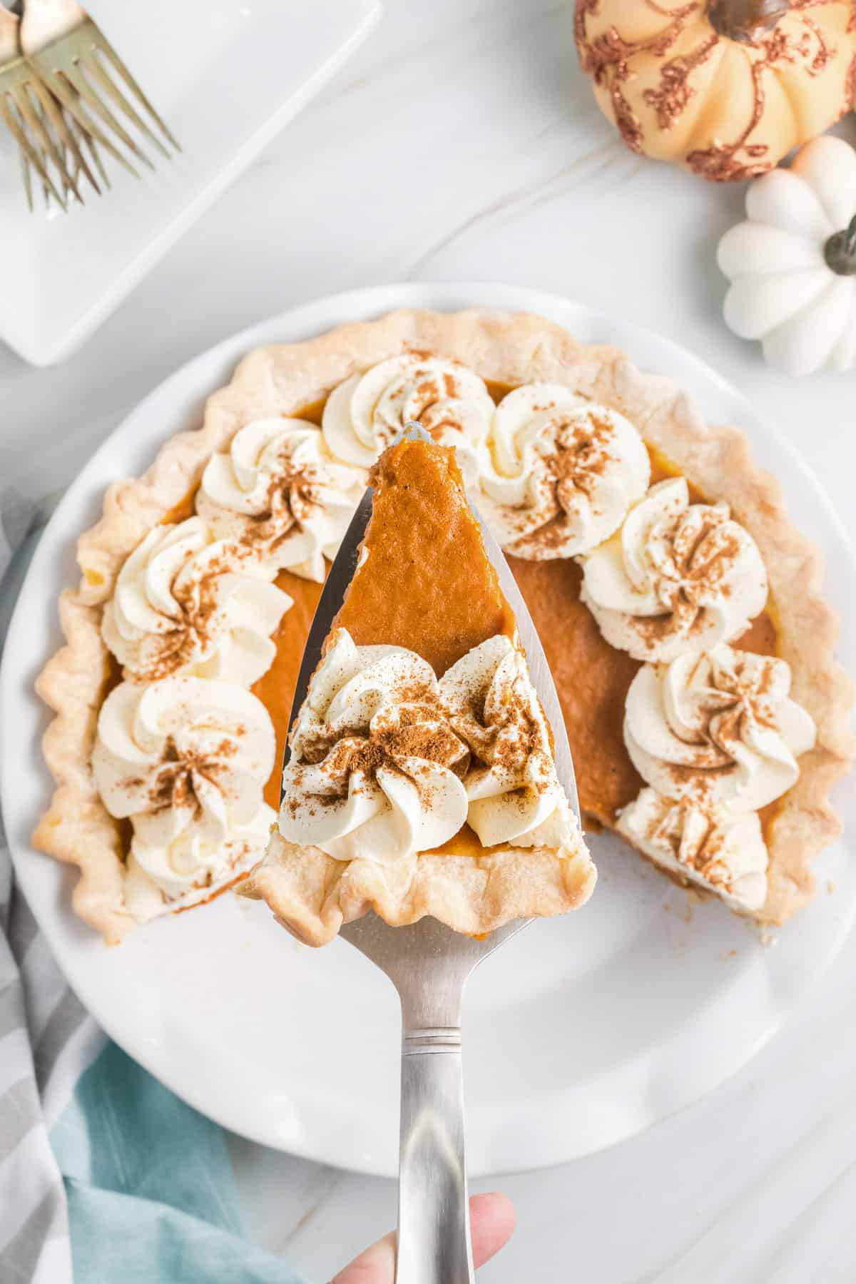 a slice of pumpkin chiffon pie on a serving utensil being held over the pie.