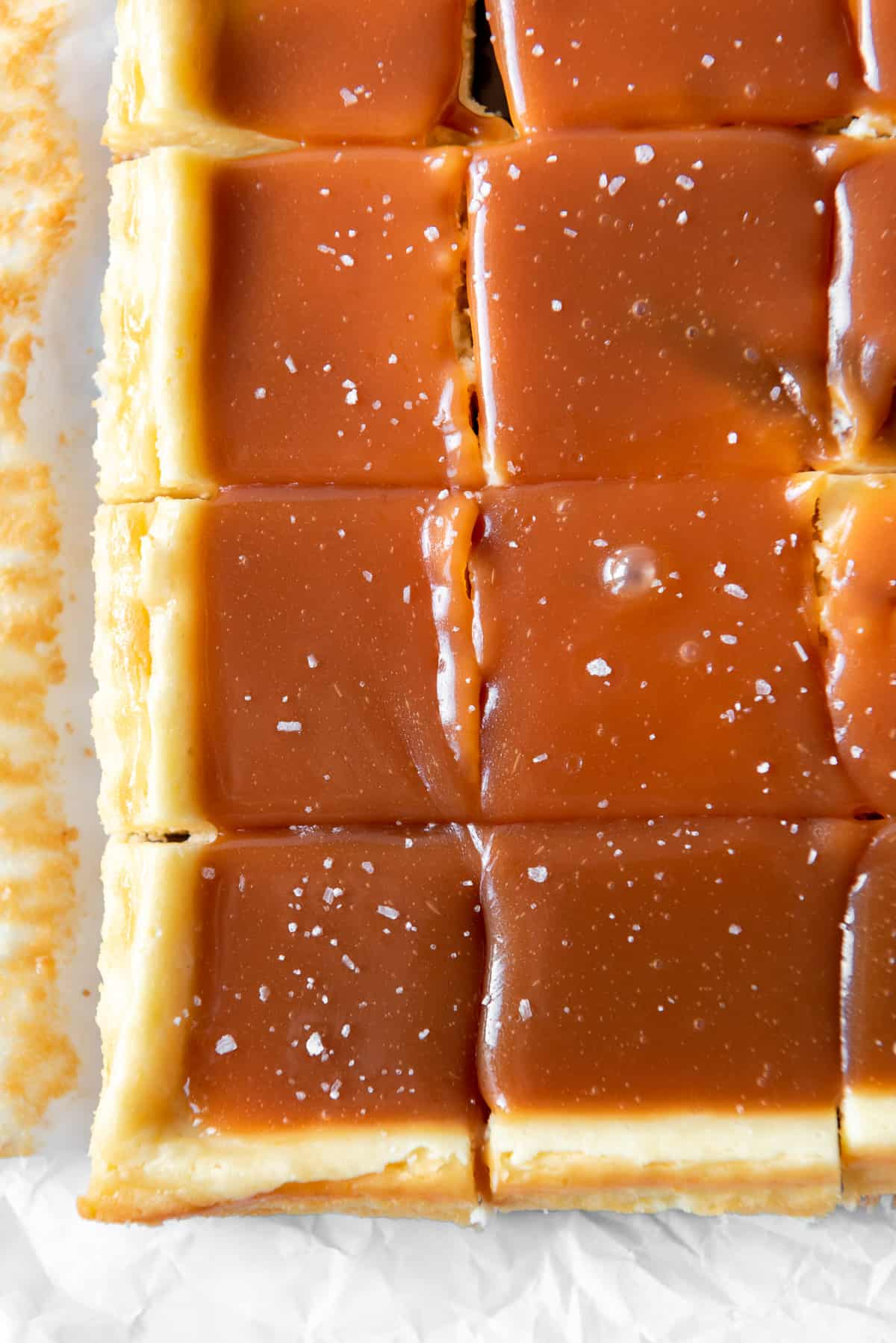 a close image of cheesecake bars covered in caramel and sprinkled with flaky salt.
