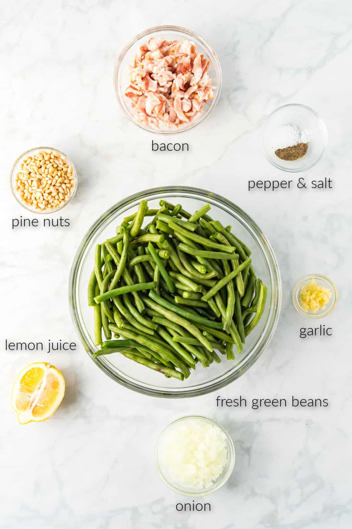 ingredients for making a green bean side dish.