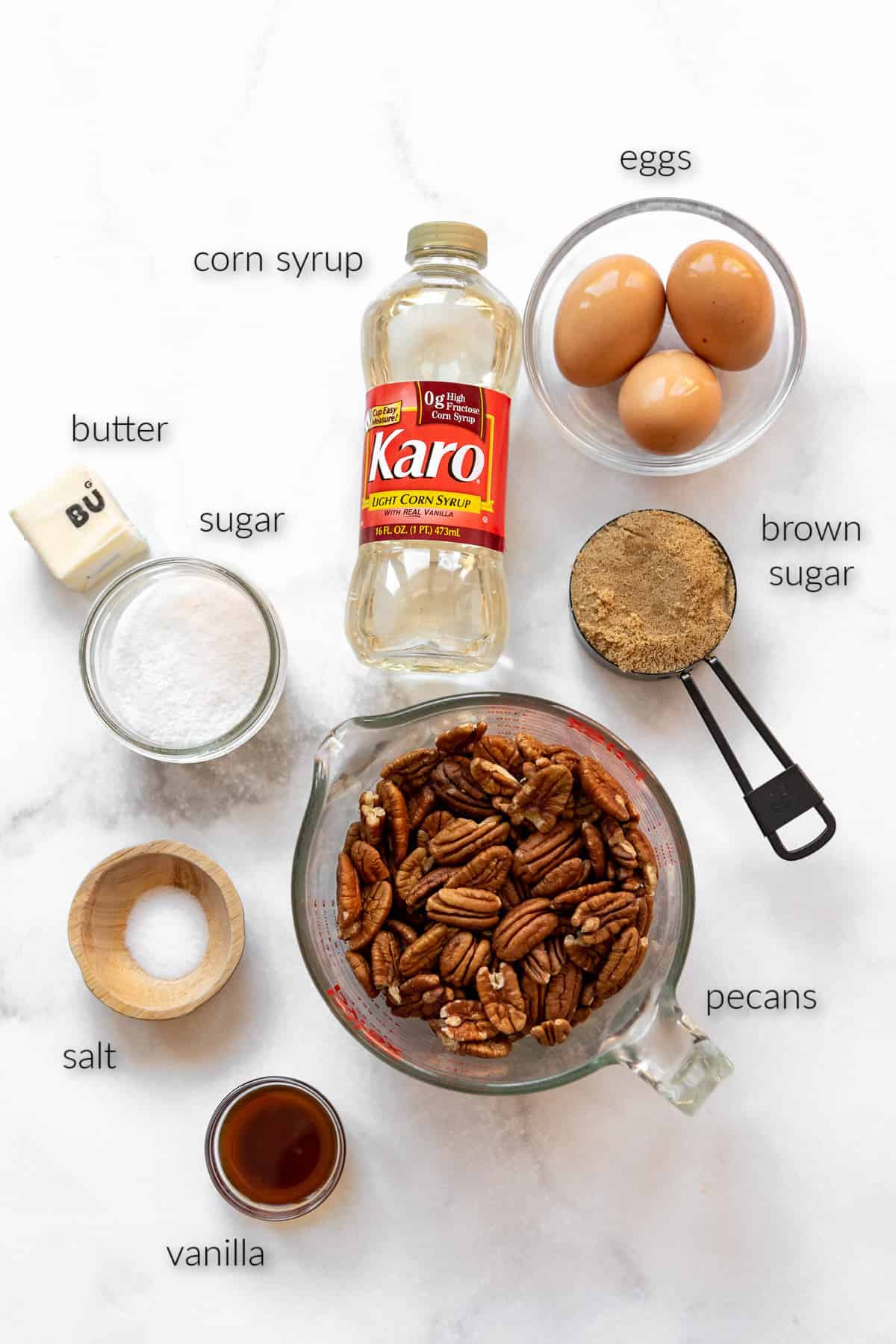 labeled ingredients for making a homemade pecan pie.