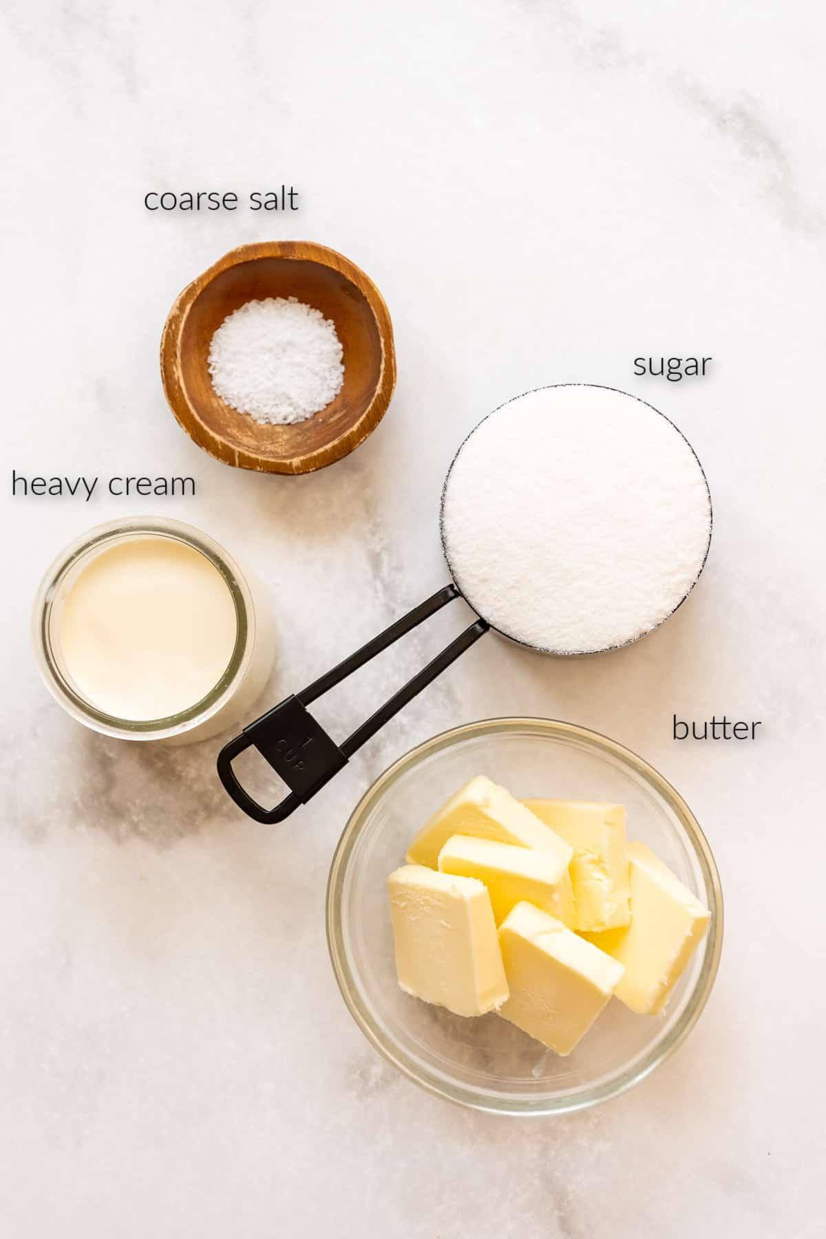 heavy cream, coarse salt, sugar, and butter for making caramel sauce