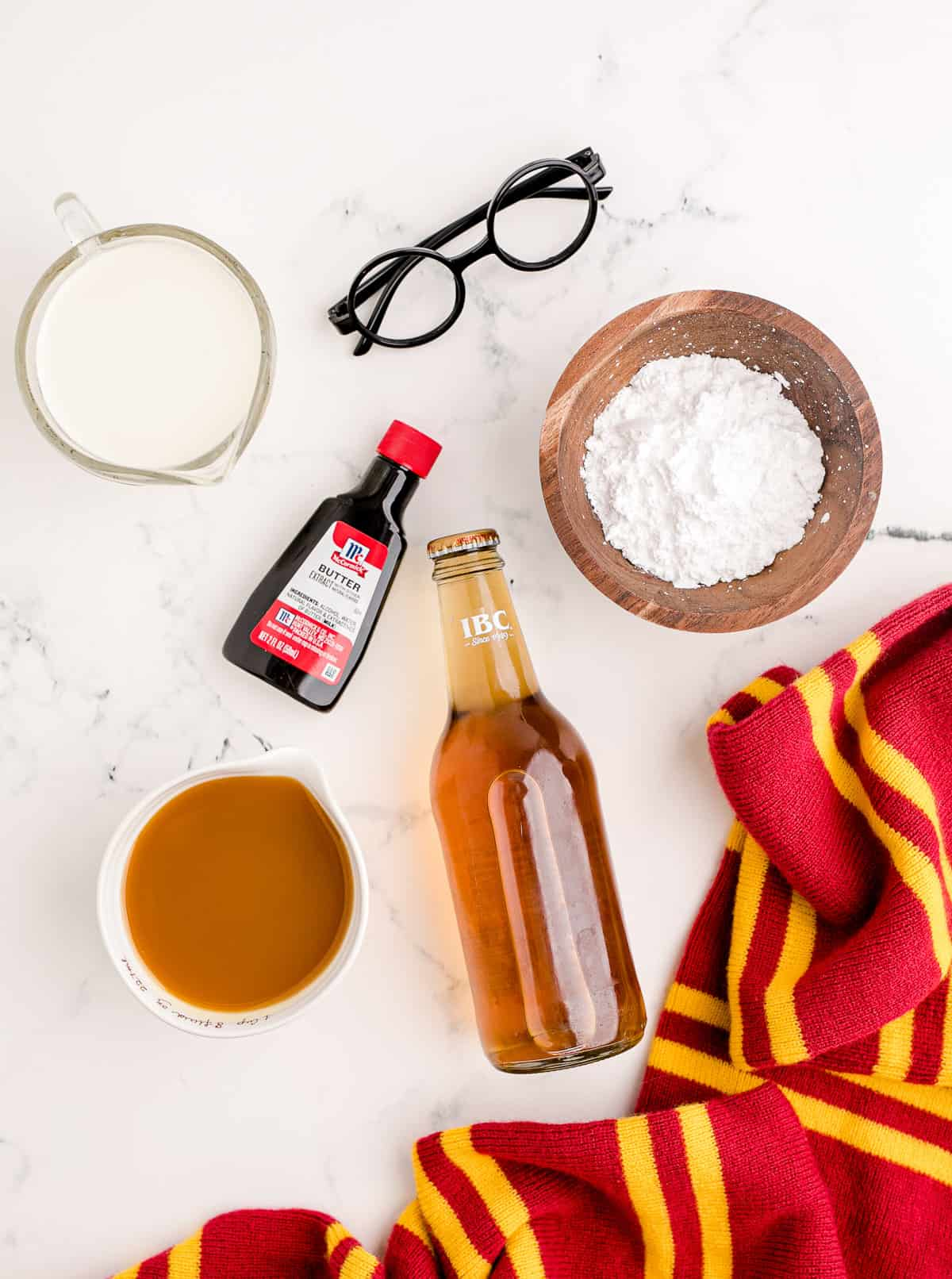 Ingredients for making homemade butterbeer.