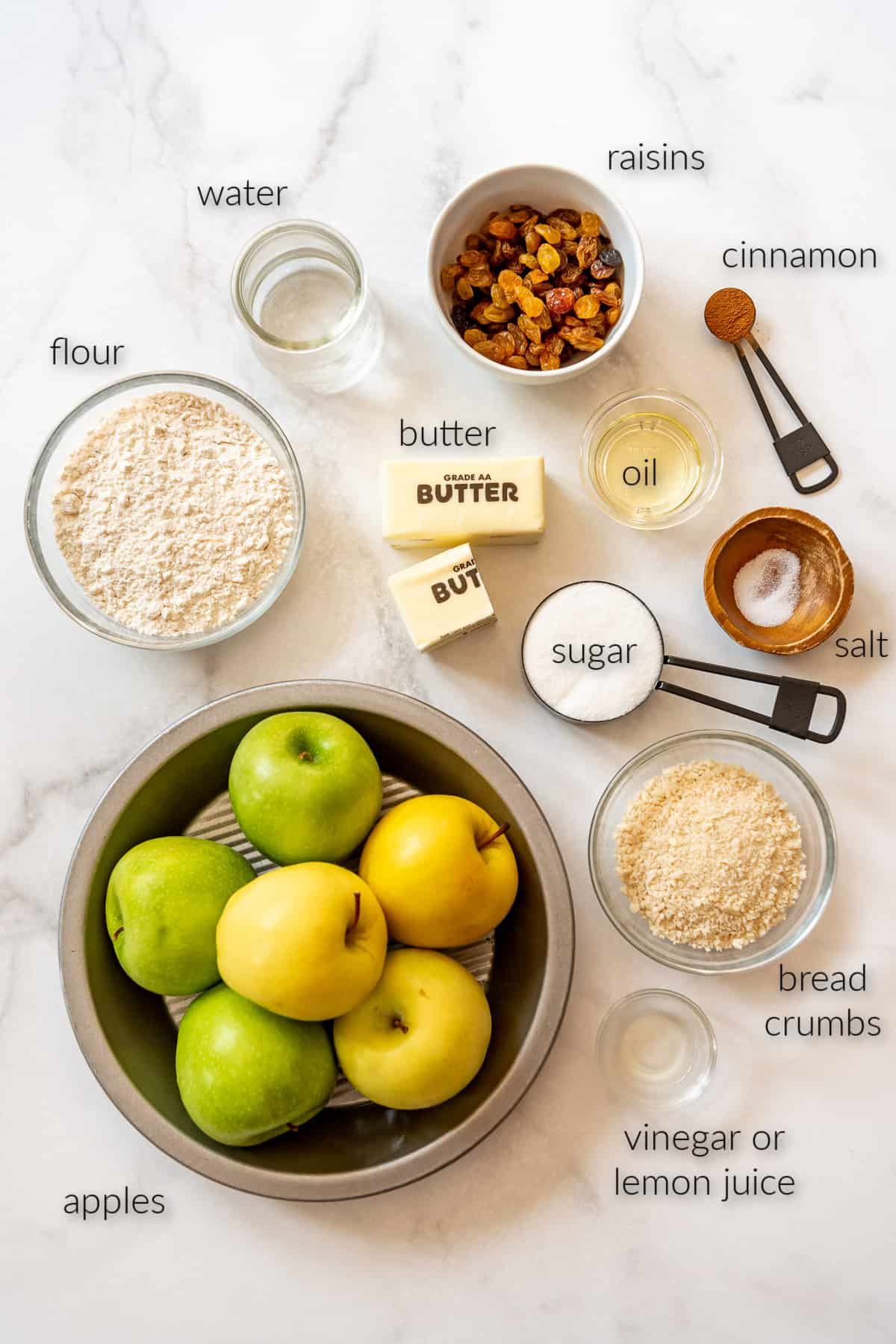 labeled ingredients for making apple strudel.